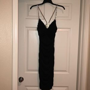 Black cocktail dress with crystal studs